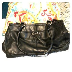 Black leather COACH purse